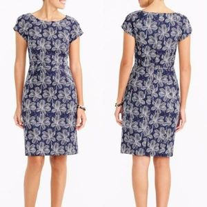 J.Crew Blue Floral Basketweave Sheath Dress 4